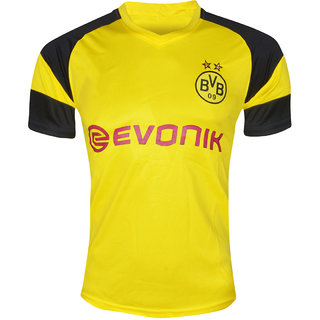 Borussia Dortmund Football Team Yellow Polyester Dry Fit Half Sleeve Jersey(BVB)