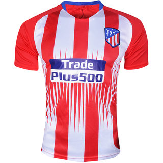 4cb5ef8c2d7f3 Atletico Madrid Football Team Red and White Half Sleeve Polyester Dry Fit  Jersey