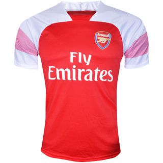 reputable site 793b2 c8810 Arsenal FC Football Team Red and White Half Sleeve Polyester Dry Fit Jersey
