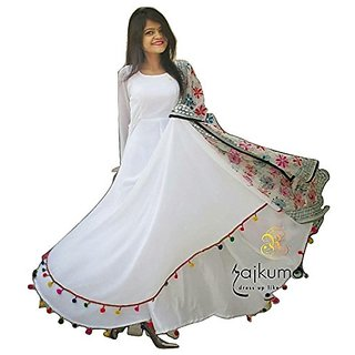 Raabta White with Multi Color Pom Pom Long Dress rwd1122(White)