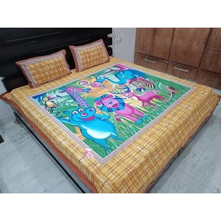 Craftwell Jaipuri Cotton Double bedsheet with 2 pillow cover