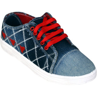 Vonc Blue And Red Denim Shoes For Women