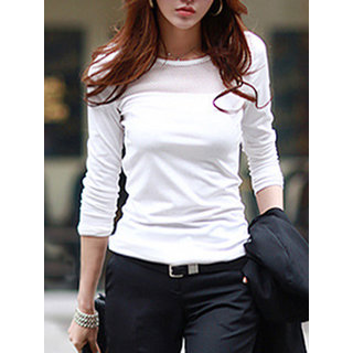 434c5f559b23c Buy Rosella Plain Round Neck Basic White Full Sleeves Cotton Lycra Casual Women s  T-Shirt Online - Get 70% Off
