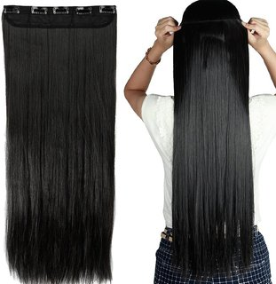 Osking Straight Full Head Synthetic Fibre Clip In Hair Extensions 5 Clips Based 24 Inch - For Women And Girls - Premium Quality (Natural Black)