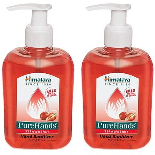 Himalaya PUREHANDS STRAWBERRY Hand Sanitizer (250 ml Pack of 2)