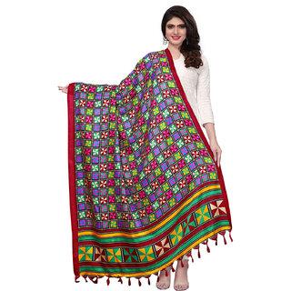 Swaron Maroon and Multicolor Bhagalpuri Silk Printed Dupatta
