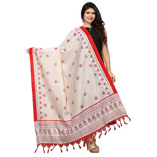 Swaron Red and Off White Bhagalpuri Silk Printed Dupatta