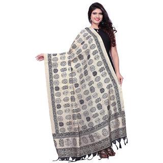 Swaron Biege and Black Bhagalpuri Silk Printed Dupatta
