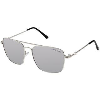 David Blake Silver Rectangular Gradient UV Protected Mirrored Sunglass