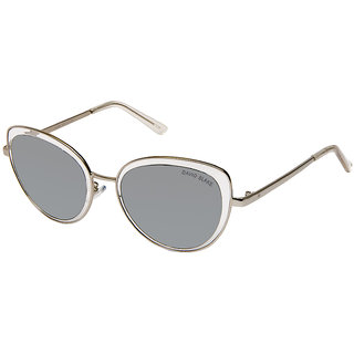 David Blake Silver Cateye UV Protected Mirrored Sunglass