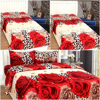 BSB Trendz Multicolor  Soft Cotton finish 3D Printed 3 Double Bed Bedsheet With 6 Pillow Covers