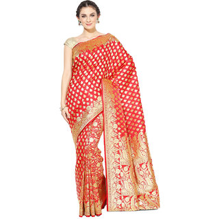 e245af15fa800 Buy Banarasi Silk Works Women s Red Banarsi Cotton silk Saree With Attached Blouse  Online - Get 50% Off