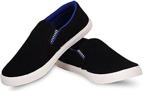 Kegoff Men Canvas Casual Loafers Shoe In Black And Navy