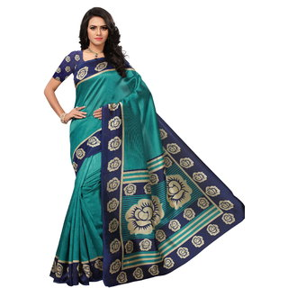 7e36daab7fbb1a Buy Indian Beauty Women s Green Printed Art Silk Saree With Blouse ...