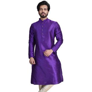 Anil Kumar Ajit Kumar Men's Purple Cotton Silk Kurta Pyjama Set