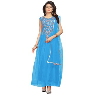 Florence womans Sky Blue Net Party Wear Gown