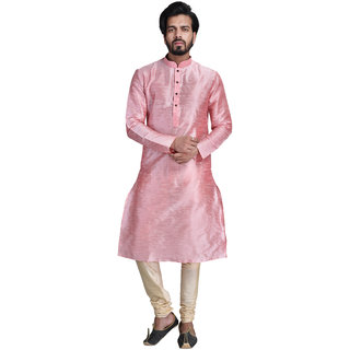 Anil Kumar Ajit Kumar Men's Peach Cotton Silk Kurta Pyjama Set