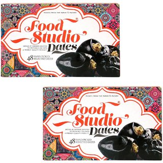 Food Studio Premium Quality Hand Picked Selected Dates Pack of 2 (650 gm Each,48 Pieces Each)