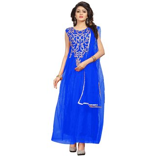 Florence womans Blue Net Party Wear Gown