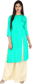 Fashion Ethinicia Side Slit With Button Lining Turquoise Kurti With Cotton Kurti With Palazzo