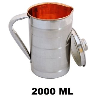 AH Copper Satinless Steel Jug for Water Storage  Drinking Water With Steel Outside  Inner Copper , Steel Lid For Water Pitcher , Set of 1 (2000 ML) 8x5 Inch