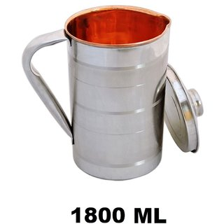 AH Copper Satinless Steel Jug for Water Storage  Drinking Water With Steel Outside  Inner Copper , Steel Lid For Water Pitcher , Set of 1 (1800 ML) 7x4 inch