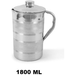 AH Steel Jug with Lid  for Water Storage  Drinking Water With Steel Both Inner  Outer , Steel Lid For Water Pitcher , Set of 1 ( Steel Jug 1800 ML ) 7x4 Inch