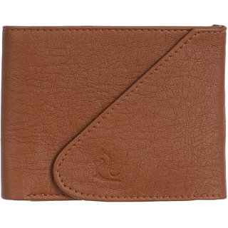 Kara Mens Tan PU Tri-fold Wallet