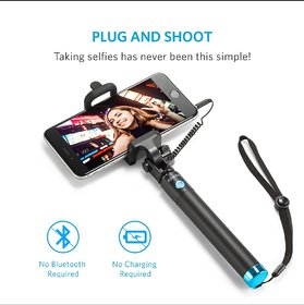 Wellbeing Within Premium Next Gen Compact Wired Metal Selfie Stick for iPhone and Android- Multicolor