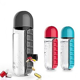 Water Bottle With Removable 7 Day Pill Medicine Organizer Drinking Cup - Assorted Colour