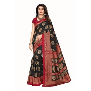 Ticknmart Women's Latest New Arrival  Black Bhagalpuri saree with unstitch Blouse