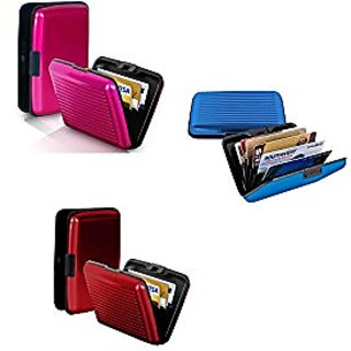 sports shoes 6fe86 4bd47 Set of 3 Business Aluminum ID Credit Card ATM Debit Card Holder Aluminium  Security Wallet RFID Protection