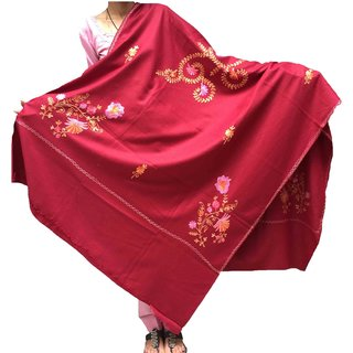 Varun Cloth House Women's Woollen Kashmiri Aari Embroided Shawl (vch3760MaroonFree Size)