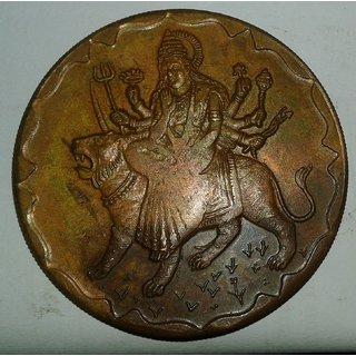 GODDESS  DURGA JI 1818 TEMPLE TOKEN COIN BIG SIZE WEIGHT 45 GM. SIZE 50 MM