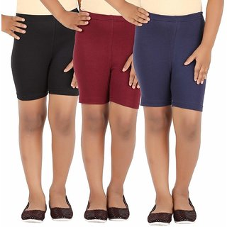 Eazy Trendz - Girls Lycra 4 Way Stretchable Cycling,Yoga,Jogging Shorts/Tights,190 GSM Pack of 3 (Black,Navy,Brown)
