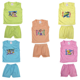 Pack of 5 Unisex Eazy Trendz Born Baby Pu Cotton Sleeveless Top and Bottom Dress Set (0 to 9 Months)