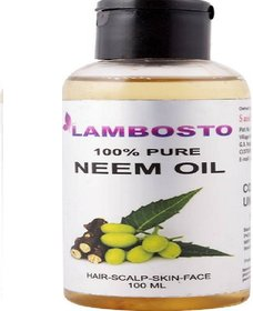 LAMBOSTO Cold Pressed Unrefined Neem Oil For Hair-Scalp-Skin-Face-Nails-- 100 ml