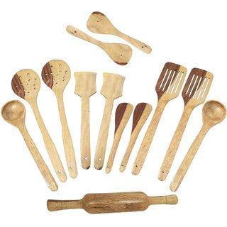Desi Karigar Wooden Spoon Set Of 13 Pcs/Wooden Spatula, Ladle  Kitchen Tool Set