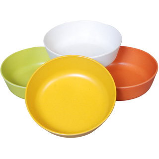 Bincy Bamboo Eco- Friendly Biodegradable Stackable Serving Soup Bowls (Set of 4 Multicolor)