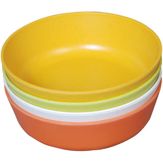 Beaming Eco- Friendly Biodegradable Bamboo Stackable Serving Soup Bowls (Set of 4 Multicolor)