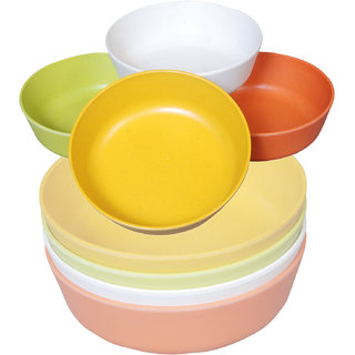 Bewitching Biodegradable Eco- Friendly Bamboo Serving Bowls Set of 4 (Multicolor)