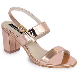 Funku Fashion Peach Block Heels