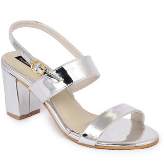Funku Fashion Silver Block Heels