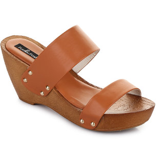 Funku Fashion Tan Wedges Heels