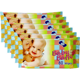 OM Skincare Baby Wipes With Aloe Vera-480 Pcs ( Pack of 6 )