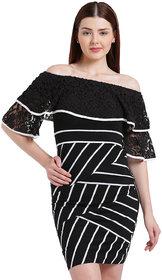 Texco Women Black And White Off Shoulder Stripe Dress