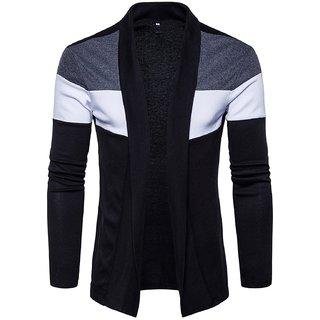 PAUSE Black Cotton Blend Full Sleeve Men's Cardigan T-Shirt