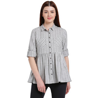 Texco Women Grey And white Spread Collar Check Shirt