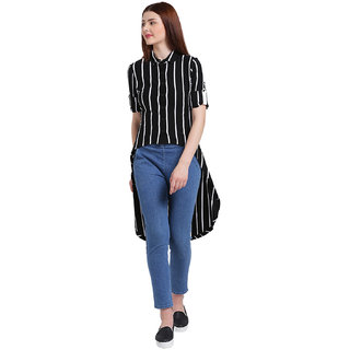 9db3a6435c Buy Texco Women Black And White Spread Collar Stripe Shirt Online - Get 69%  Off