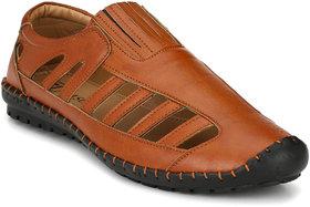 El Paso Men's Tan Slip On Casual Sandals